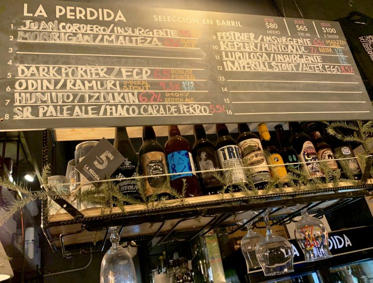 the craft beer list at La Perdida