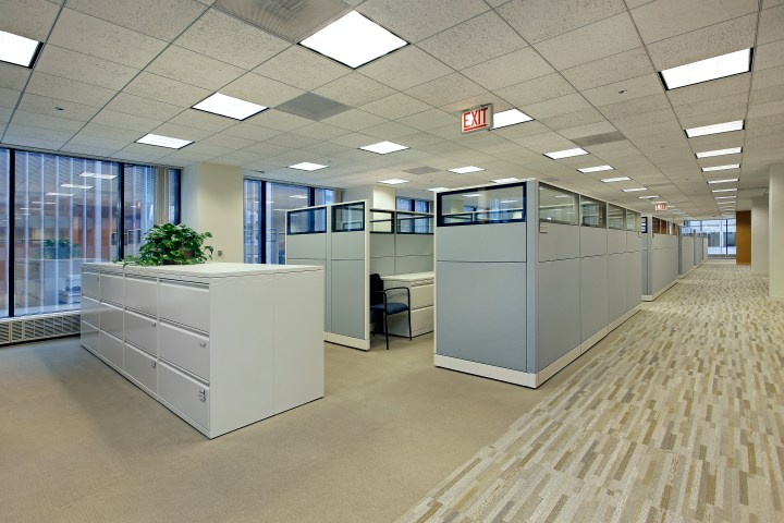 Well lit cubicles in an office