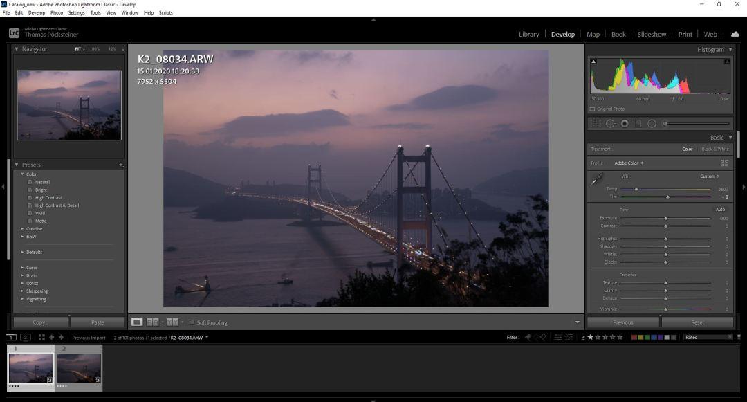 Develop-Tab in Adobe Lightroom