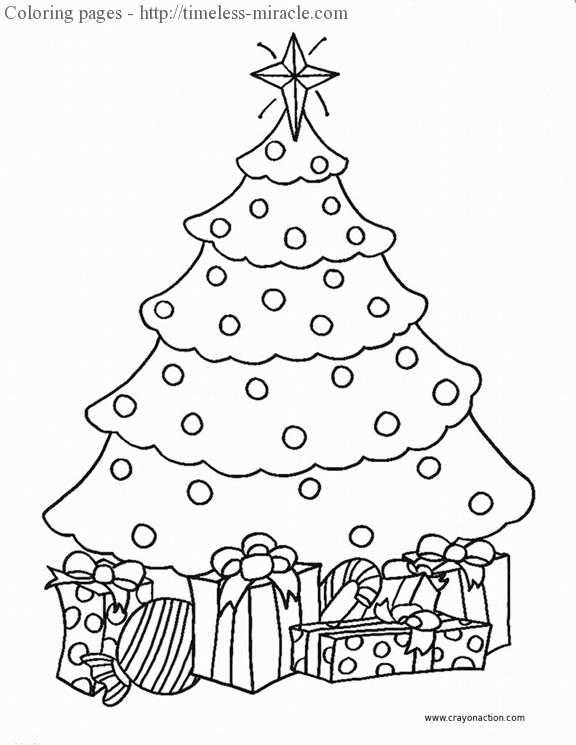 picture of a christmas tree to color