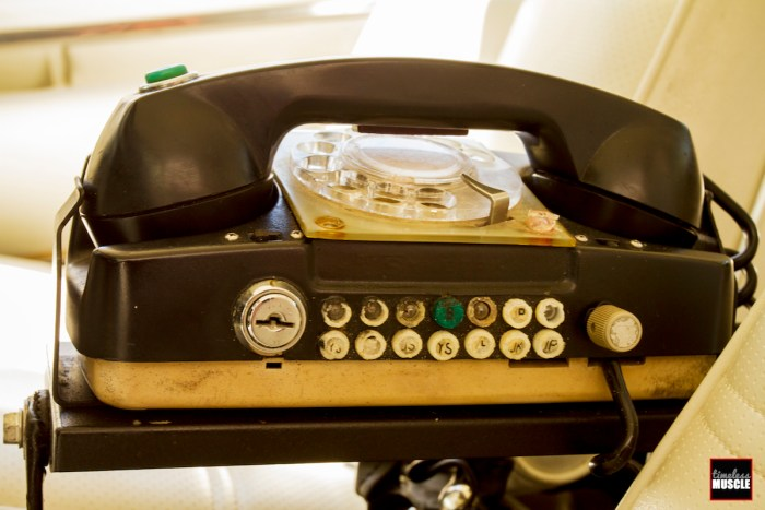 There was no texting in 1972, but we suspect trying to dial on a rotary-dial phone was equally as distracting. Perhaps the key lock used the ignition key to prevent this. Despite its ancient looks, this was state-of-the-art for 1972. The phone is an Automatic Electric unit that later became GTE which morphed into today's Verizon. The phone transmitted on the airwaves via the old Bell System, and Symetrics of Florida supplied the entire phone system.