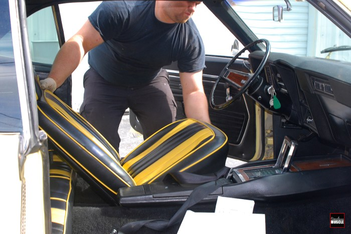 To get started, both the front and rear seats are removed. Now's a good time to look at your front seat track assemblies, and replace if they show signs if severe corrosion or damage.
