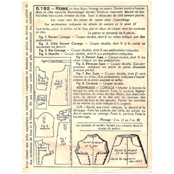 PATRONS NOUVEATE 5192 1940 PATRON COUTURE SEWING PATTERN