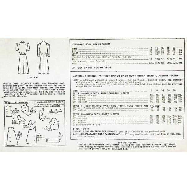 vintage simplicity 4862 sewing pattern 1943