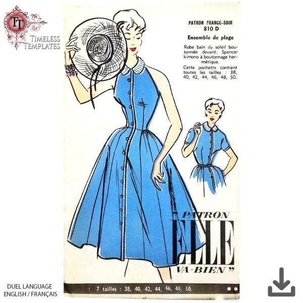 french 1954 dress sewing pattern