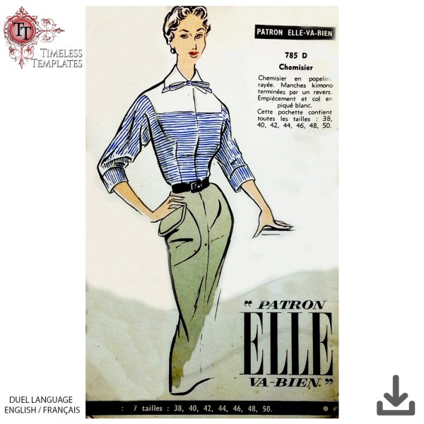 1950s french blouse sewing pattern vintage couture francais