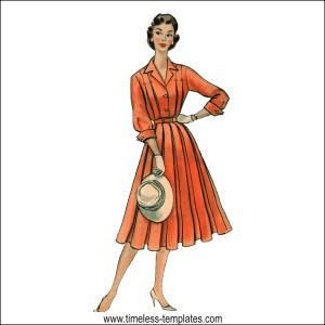vintage 1950s full skirt dress pleated