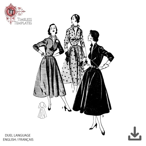 1952 patron robe vintage, theatre dres