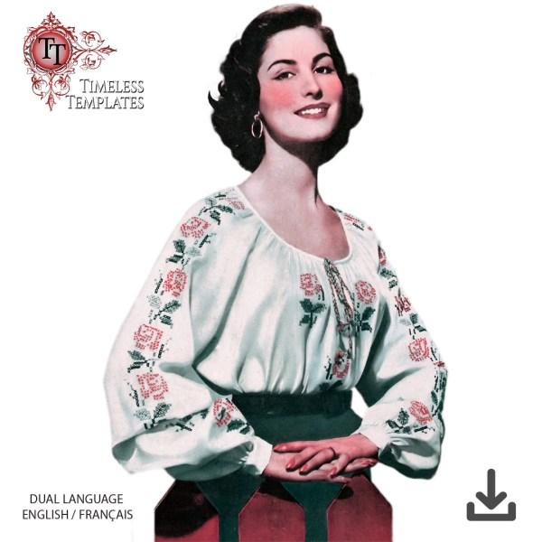 free original French vintage sewing pattern