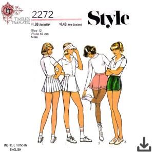 vintage 1970s sports tennis skirt skater sewing pattern