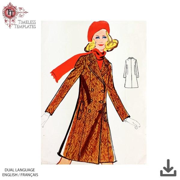 vintage winter coat pdf sewing pattern 1960s