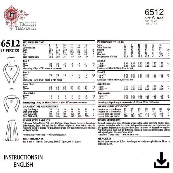 new look 6512 pdf vintage sewing pattern