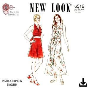 newlook 6512 wrap dress vintage sewing pattern pdf