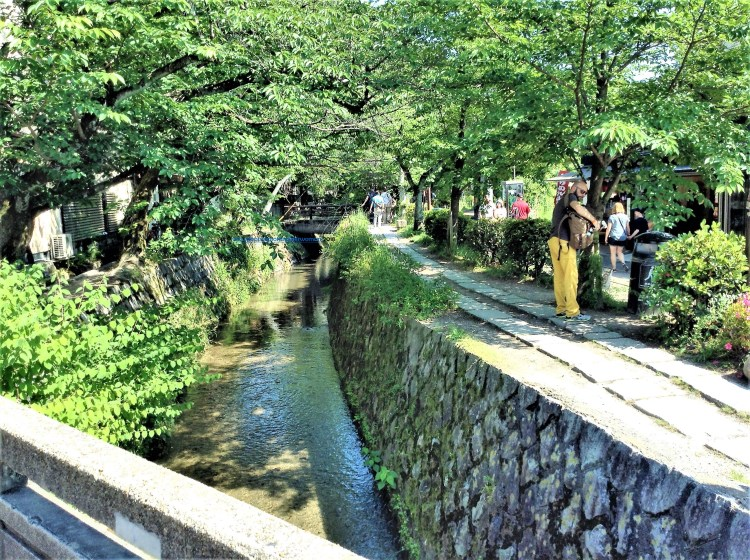Shops by the narrow canal along Philosopher's Path, Kyoto