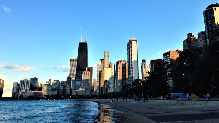 The Lakefront in Chicago: Sunset over the skyscrapers