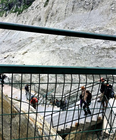 Day 2 of 3-Day Itinerary in Geneva was a visit to Mer de Glace: Metal steps all the way down to the Ice Cave. A grim reminder of global warming and how fast the glacier is receding.