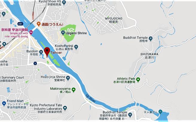 Location of Taihoan Tea House on the southern bank of Uji River, Uji, Kyoto
