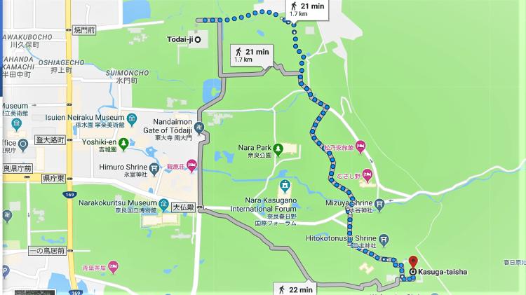Walking route from Todaiji Temple to Kasuga Taisha Shrine, Nara Park, Nara