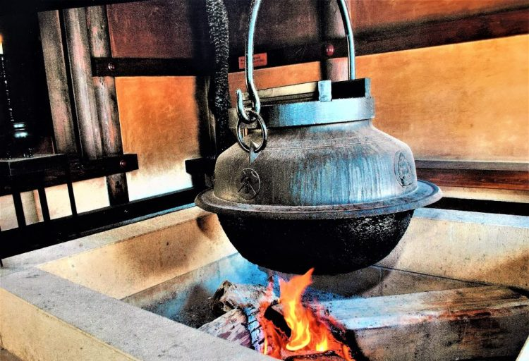 Mount Misen, Miyajima Island: The kettle above the fire that has been burning for 1200 years. Water from this kettle is said to cure illnesses.