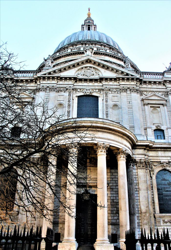 The Corinthian pillars on the west entrance to St Paul's Cathedral, London