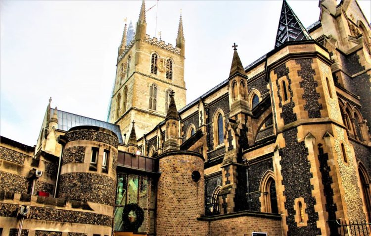 The magnificent exterior architecture of Southwark Cathedral, London