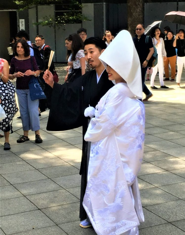 Bride & Groom at a Shinto Wedding in the Meiji Shrine, Tokyo
