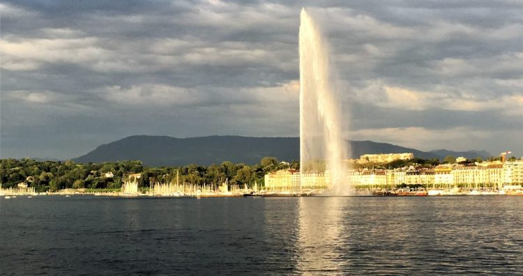 The impressive sight of Jet d'Eau in Lake Geneva, during our Perfect Romantic 3-day Itinerary in Geneva
