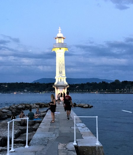This lighthouse in Geneva was charmingly delighful . It was here that we spent our evenings and caught the sunset.