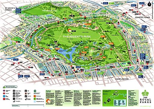 Map of Regent's Park, Google maps