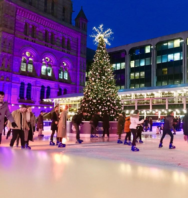 The ice skating rink at Natural History Museum