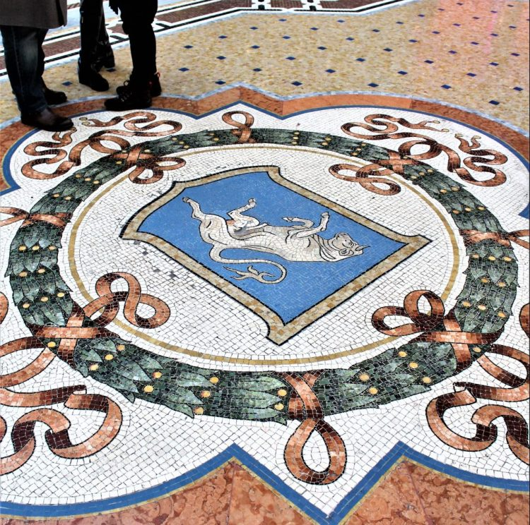 Dancing Bull, symbol of Turin. Intricately crafted into the mosaic floor of the Galleria Vittorio Emanuele II Arcade in Milan