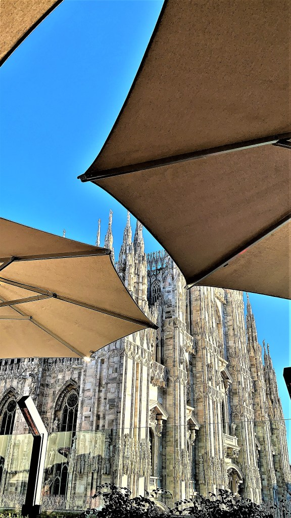 The view of Milan Cathedral from across