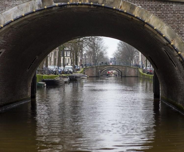 canal biking in Amsterdam