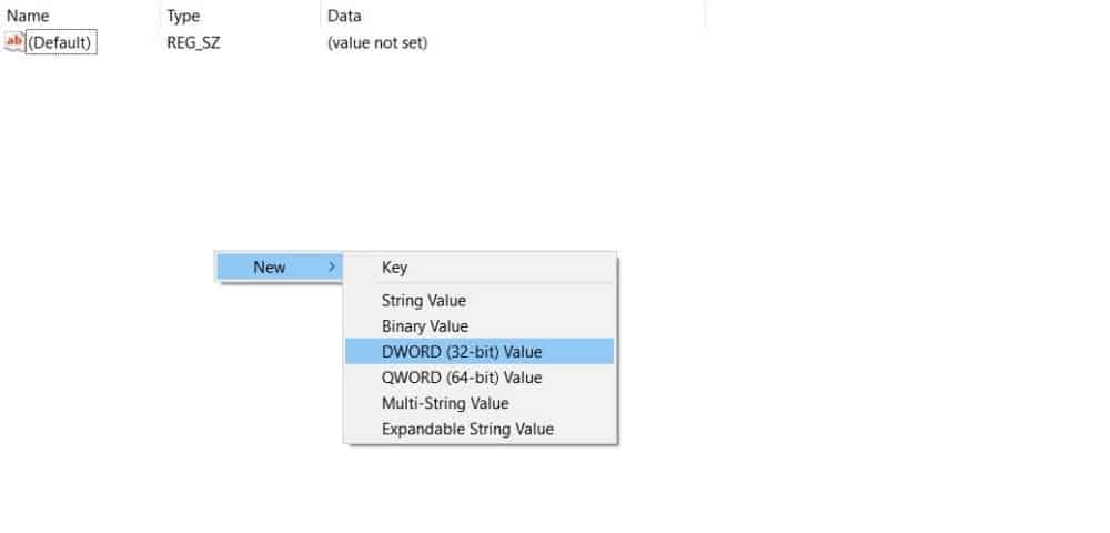 Buat Key DWORD 32 bit Value