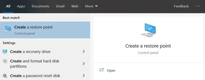 Buka Create a Restore Point Windows 10