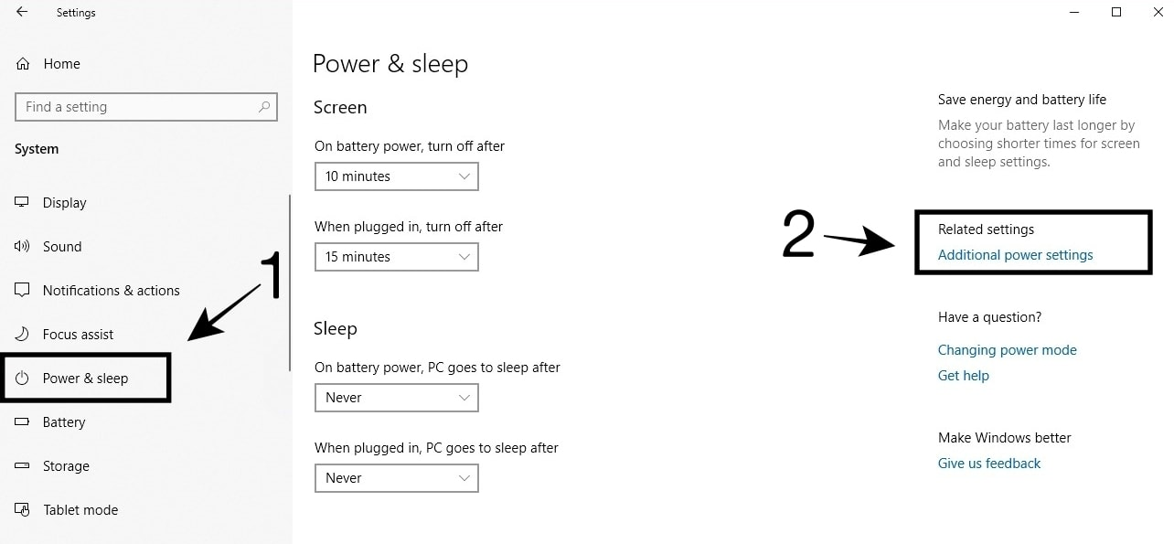 Buka Power Sleep dan pilih Additional power settings