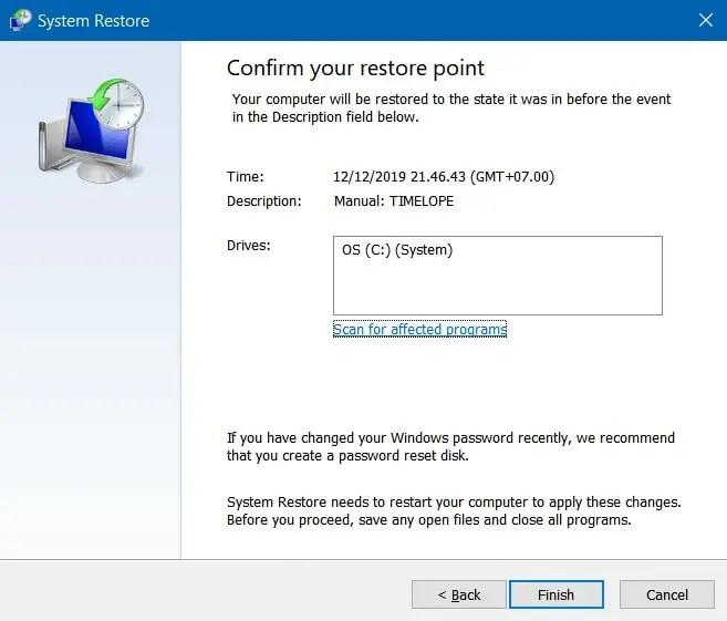 Klik Finish untuk Konfirmasi Menggunakan Restore Point 1