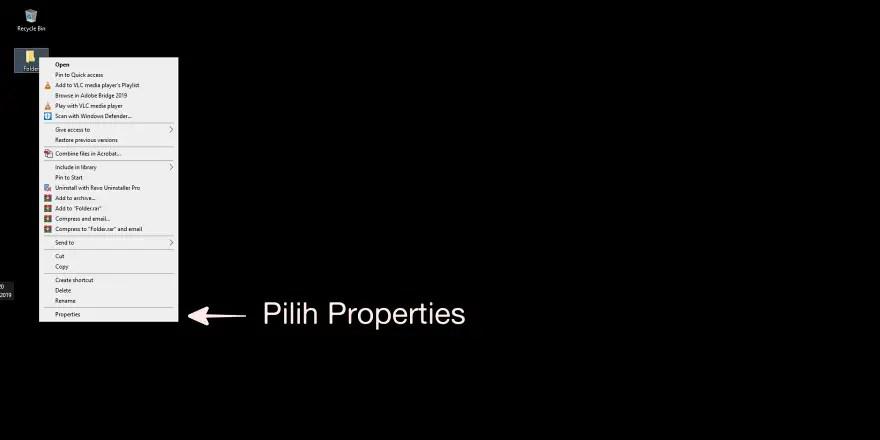 Klik Kanan pada tab Properties