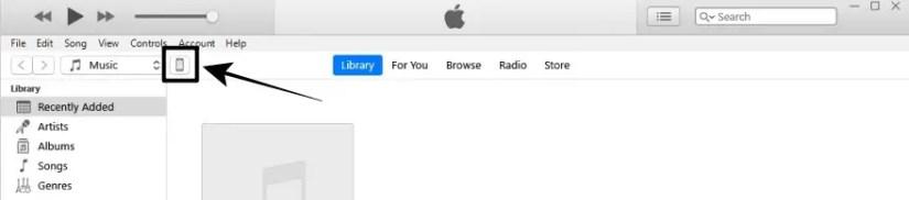 Pilih Icon Device di iTunes