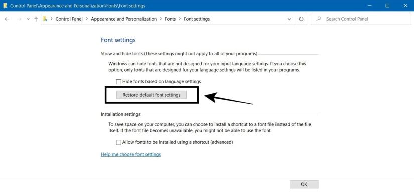 Pilih Restore Default Font Settings