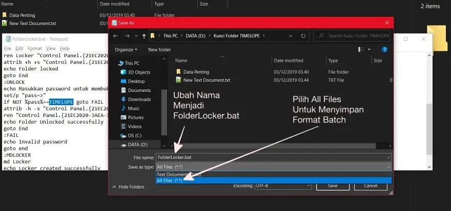 Simpan File Dalam Format BAT