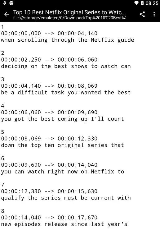 File SRT Subtitle Sudah Terunduh ke Android