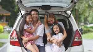 Asian family in car