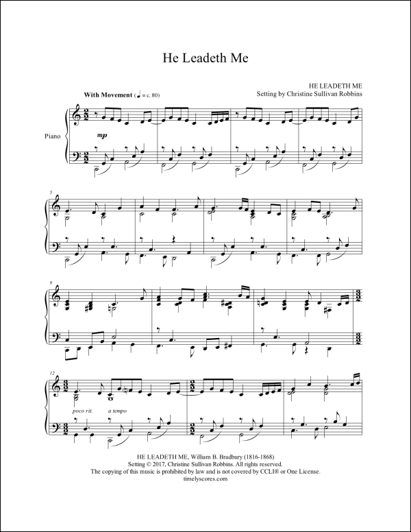 He Leadeth Me Piano Sheet Music