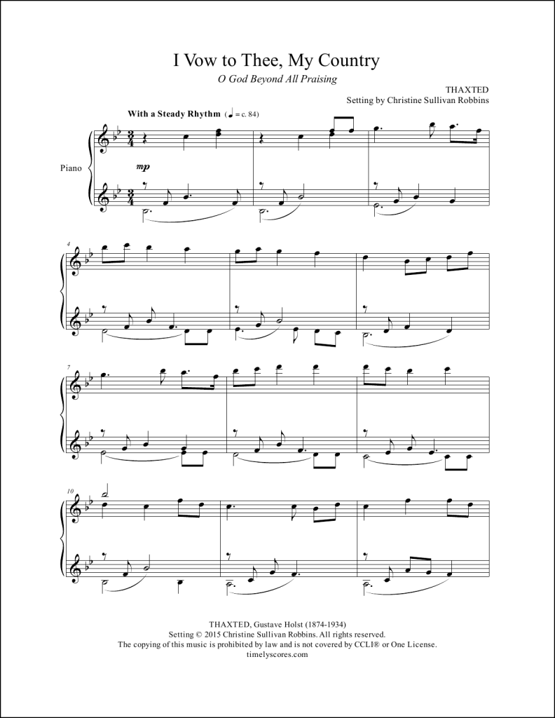 I Vow To Thee My Country Piano Sheet Music