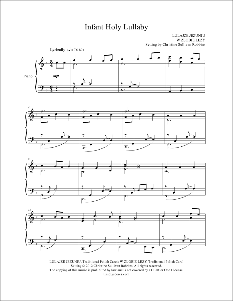 Infant Holy Lullaby Piano Sheet Music