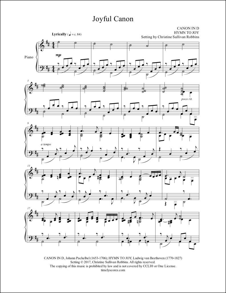 Joyful Canon Piano Sheet Music