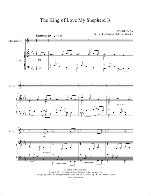 The King of Love My Shepherd Is Clarinet Sheet Music