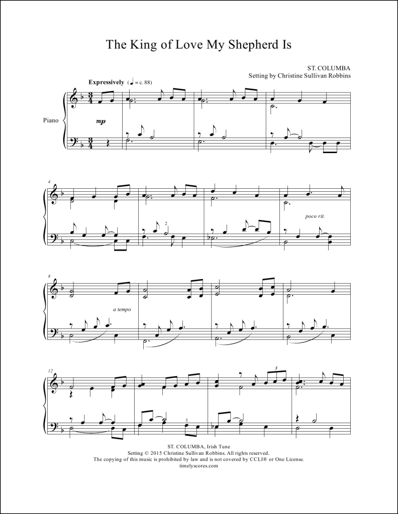 The King of Love My Shepherd Is Piano Sheet Music