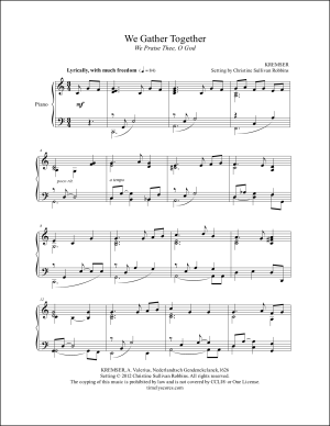 We Gather Together Piano Sheet Music